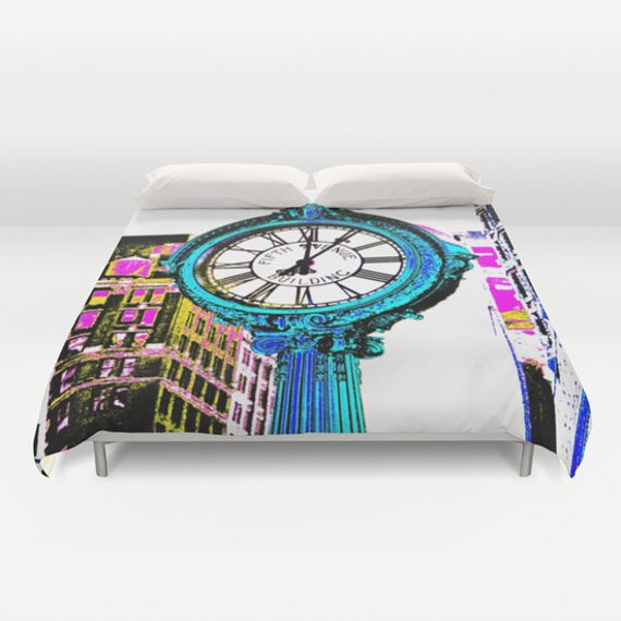 Fifth Avenue Building Clock New York Bedding, Manhattan Duvet Cover, Decorative bedding, Pixels design, modern, urban bedding, Dorm, Clock