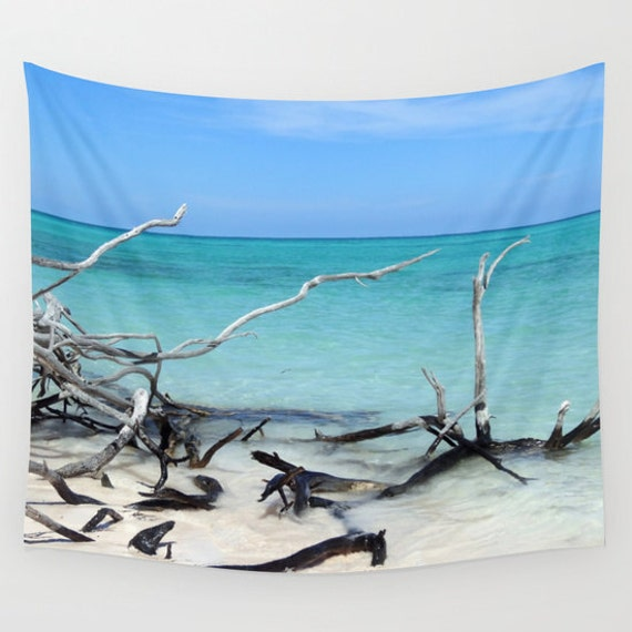 Beach Tapestry, Nautical Tapestry, Coastal Large Wall Decor, Photo Tapestry, Aqua Blue, Nature, Dorm, Office, Sea Water Tapestry, Tree, Sand