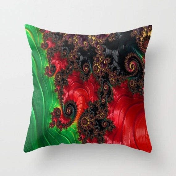 Oriental Abstract Throw Pillow, Asian Style pillow, Decorative Pillow, Red Green, Chinese Pillow, Office Pillow, Dorm, Modern, Dragon, trend
