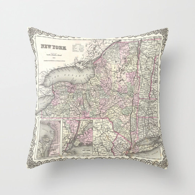 Antique New York Map Throw Pillow Vintage Map Pillow Old New image 0