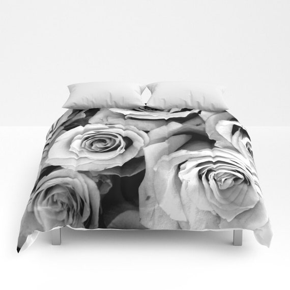Roses comforter black white bedding flower bedding unique etsy image 0 mightylinksfo