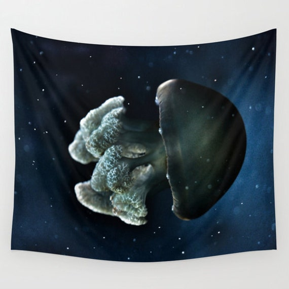 Blue Blubber Jelly Tapestry, Jellyfish, Ocean Tapestry, Nautical, Coastal Large Wall Decor, Mariners, Surf, Dorm, Office, Nature, Beach