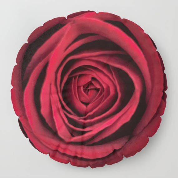 "Red Rose Round FLOOR Pillow, 26"" and 30"", Floor Cushion, Eye Candy, Dorm, Teen Decor, Office,Home Statement Piece, Flower, Wedding, Feminine"