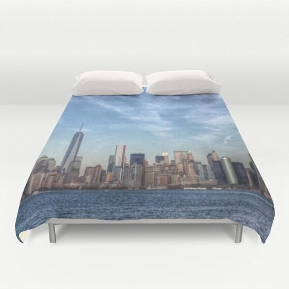 New York Manhattan Duvet Cover, Decorative bedding, unique design, modern, urban, cityscape, trend, bedroom, city landscape bedding, dorm