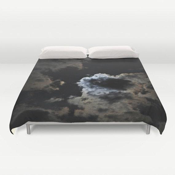 Night Sky Duvet Cover, Cloud Decorative bedding, unique design, Moon blanket cover, Noir Bedroom, Goth, Steampunk, Nature, Cloudy Sky,Dorm