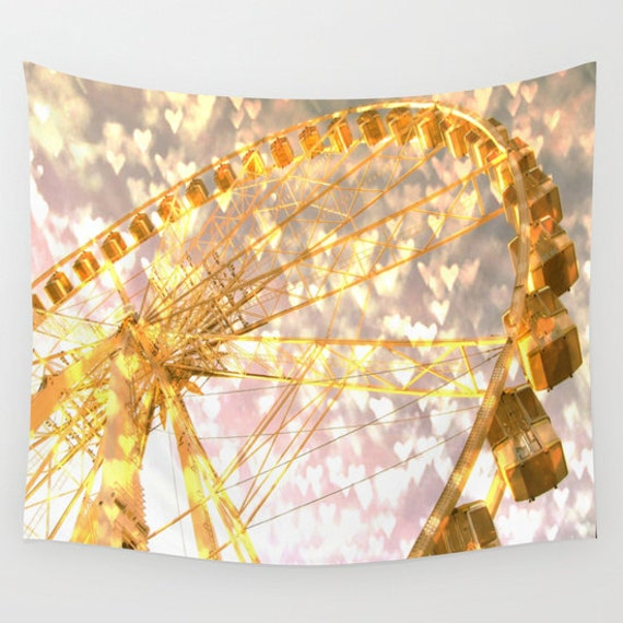 Ferris Wheel in Paris Tapestry, Love, Gold Bokeh Large Wall Decor, Dreamy, Heart, Whimsical, Office, Wall Hanging, Trend,Dorm Privacy Screen