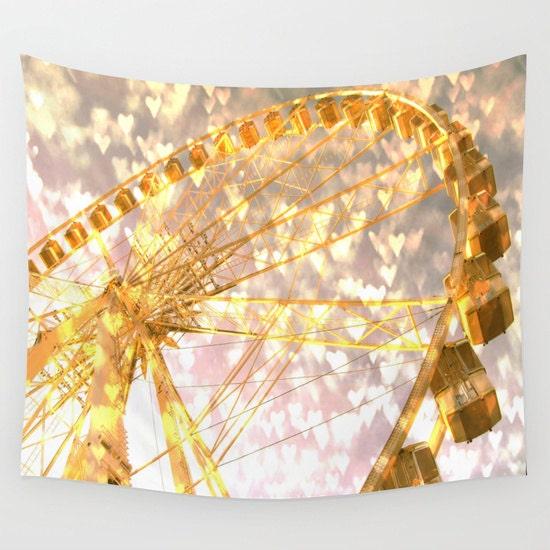 Ferris Wheel in Paris Tapestry, Love, Gold Bokeh Large Wall Decor ...