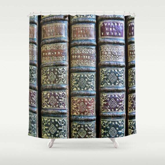 Old Book Shower Curtain, Vintage Book Shower Curtain, Bathroom, Antique Book Home Decor, Antique Book Shower Curtain, Book Shower Curtain
