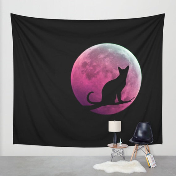 Cat and the Moon Wall Tapestry, Full Moon, Office, Pink Moon Tapestries, Black, Noir Wall Art, Surreal, Home Interior, Hot Pink Decor, Dorm