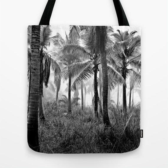 Palm Tree Tote Bag, Black White, Tropical Woods, Beach Tote, Shopping, Office, Shoulder Bag, Market Tote, Wearable Art Bag, School, Palms