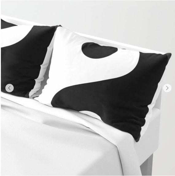 Yin and Yang Black and White Pillow Shams Set of 2, Pillow Cover, Modern Sham, Dorm, Contemporary Decor, Minimalist bedroom, Gray, Buddhist