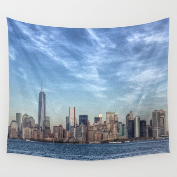 new york tapestry hdr manhattan landscape wall tapestry etsy
