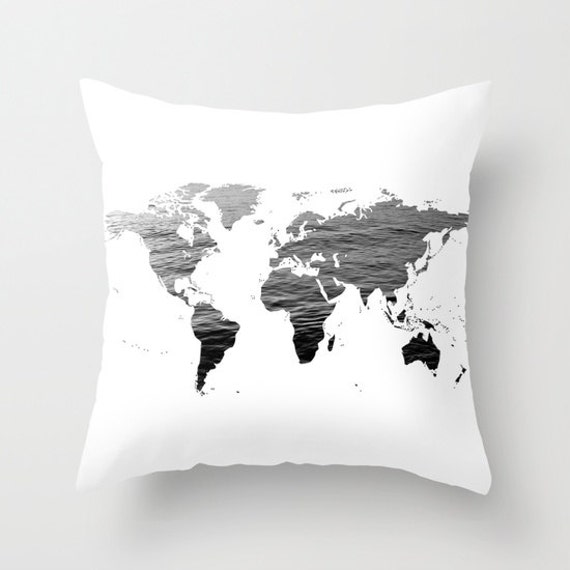 Ocean Texture Map Pillow Cover, World Map Home Decor, Interior Design, Accent Piece, World Map Pillow, Black White Pillow,Office Pillow,Dorm