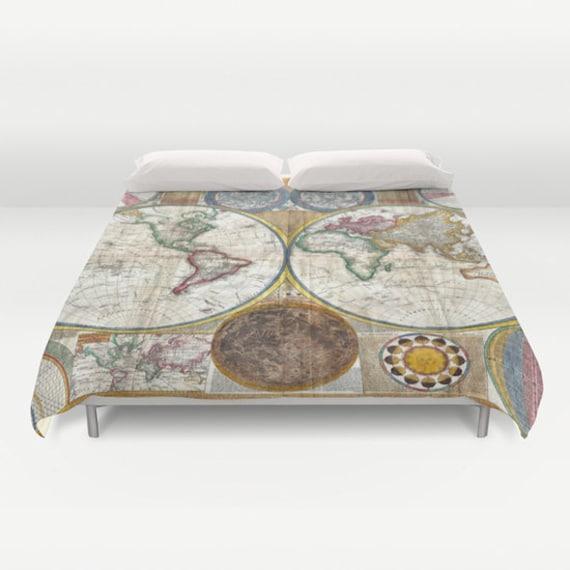 Old World Map Duvet Cover, Vintage World Map Bedding, Map Bedspread, Decorative, Unique Design, Blanket Cover, World Map Decor, Dorm Decor