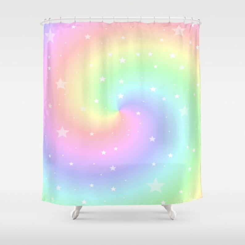 Rainbow Shower Curtain Colorful Bathroom Modern Home Decor