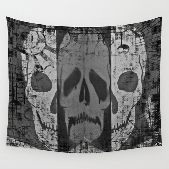 Skull Wall Tapestry, Dark Wall Art, Tattoo Large Tapestry, Noir Fine Art, Goth Decor, Office, Dorm, Black and White, Scary,Privacy Screen