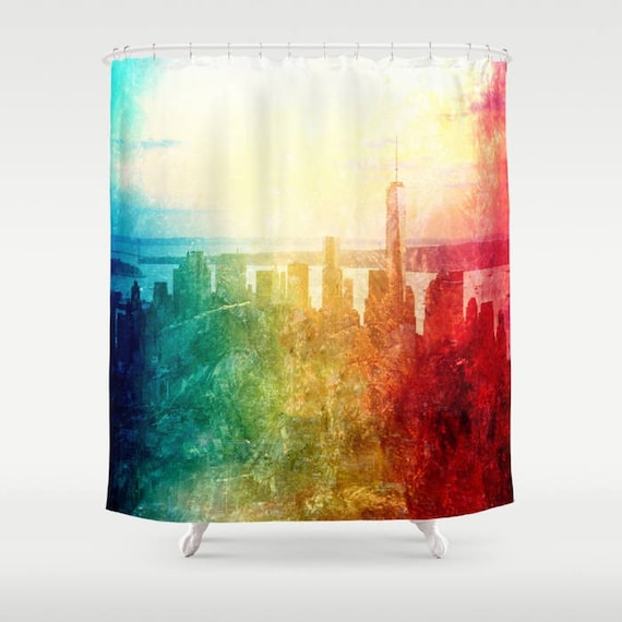 New York Shower Curtain, Manhattan , Urban, Bathroom, Modern, Home Decor, Photography, City Shower Curtain, Manhattan Decor,Abstract Skyline