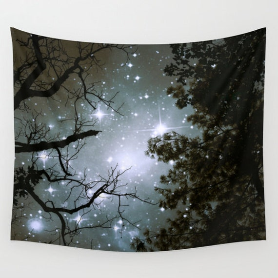Trees Wall Tapestry, Stars Tapestry, Night Sky Home Decor, Nature Tapestry, Office, Dorm, Home Decor, Whimsical Tree Branches,Woodland,Woods