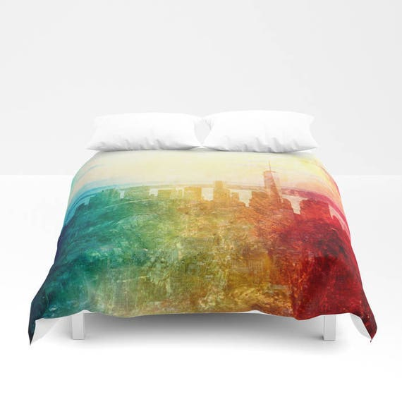 New York Duvet Cover, Abstract Manhattan bedding, unique design, modern, urban blanket cover, bedroom, city landscape bedding, dorm, teen