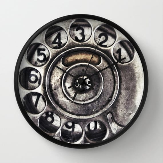 Call Me, Wall Clock, vintage, phone dial, old, home decor, time piece, unique, cool, noir, steampunk, affordable, numbers, office, Dorm