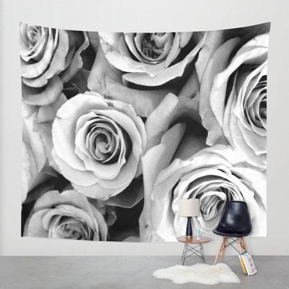 ROSES Black White Wall Tapestry, Flower Art, Large Tapestry, Fine Art Photography, Nature, Floral Decor, Feminine, Dorm, Rosebuds, Office
