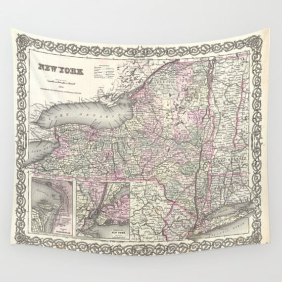 Old New York Map Wall Tapestry, Vintage Map Large Size Wall Art, Geography Decor, Office Decor,Beach Hut Decor,Vintage New York Map, Antique