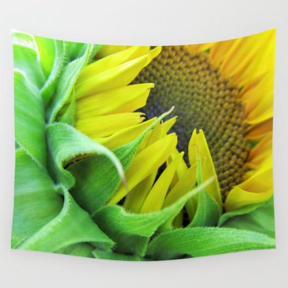 Sunflower Wall Tapestry, Flower Wall Art, Fine Art Photography, Modern, Home, Nature, Yellow Green, Vibrant, Bold, Dorm Decor, Happy, Office