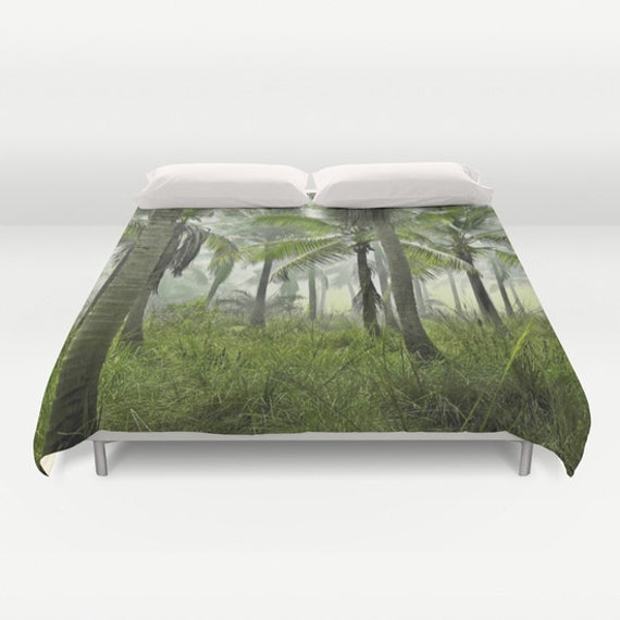 Forest Duvet Cover, In The Woods, Green Bedding, Trees Bedspread, Decorative, Woodland, Palms, Palm, Unique Design, Dorm, Tropical, Bedroom