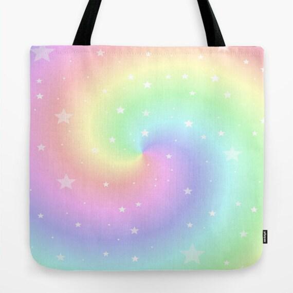 Tote Bag, 13x13, 16x16, 18x18, Rainbow, Office, Swirl, Beach Tote, Shopping Tote, Soft Color, School, Shoulder Bag, Market Tote, Dreamy Tote