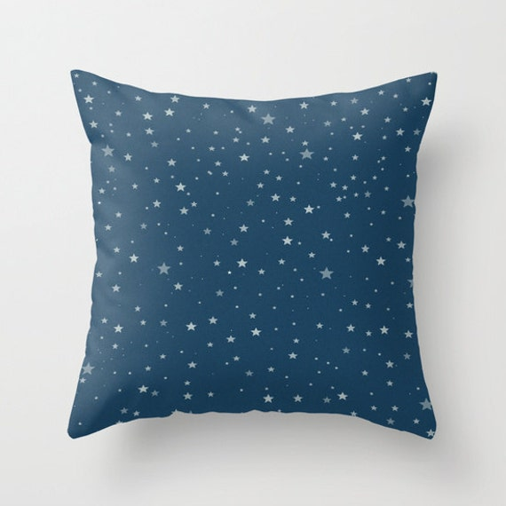 Starry Night Pillow, Navy Blue Stars Throw Pillow, 4th of July Decorative Pillow, Patriotic Cushion, Living Room, Sky, dorm, office, trend