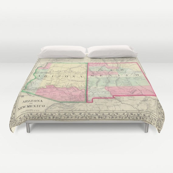 Antique New Mexico - Arizona Map Duvet Cover, Vintage New Mexico Arizona  Map Bedding, Old Map Bedspread, Decorative,New Mexico Arizona, dorm
