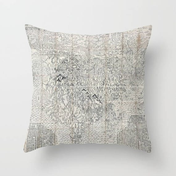 Antique Japanese Buddhist World Map Lighter Throw Pillow, Vintage Map, Office Pillow, Old Map, Asian Text Decorative,Office, Dorm, World Map