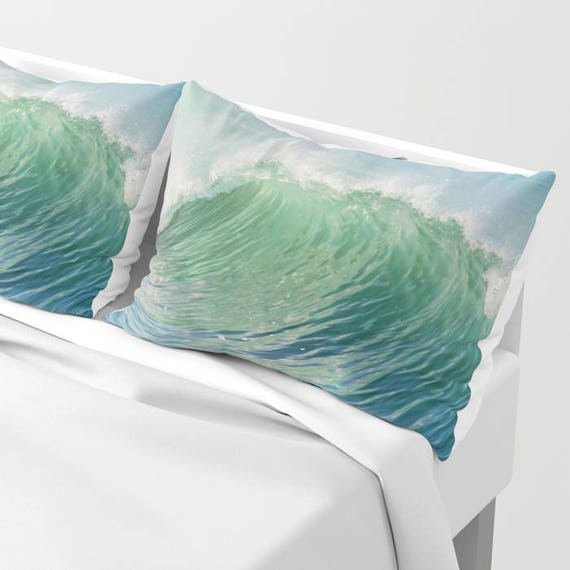 Ocean Pillow Shams Set of 2, Pillow Cover, Ocean Waves Blue Green Sham, Beach, Dorm, Nautical Decor, Aqua Blue bedroom, Surf, Water, Hotel