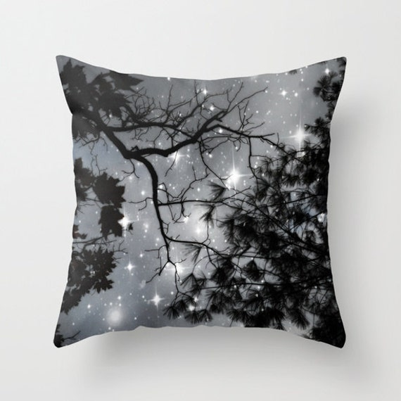 Trees Throw Pillow, Starry Night, Black & White, Office, Decorative Pillow, Cushion, Night Sky, Whimsical, Stars, Dorm, Woodland, Nature