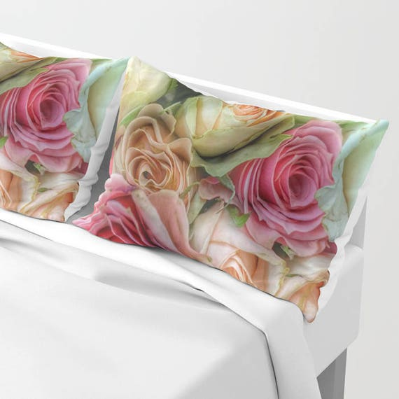Roses Pillow Shams Set of 2, Pillow Cover, Dorm, Floral Decor, Pink bedroom, Petals, Flower Sham, Feminine, Dorm, Pretty, Wedding, Valentine