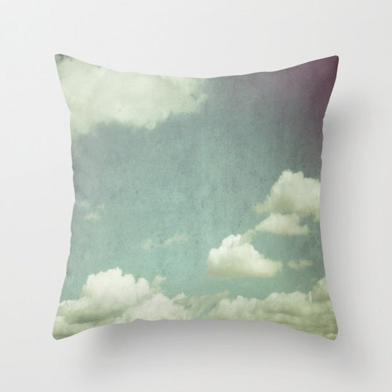 Cloud Throw Pillow, Decorative Pillow, Cloudy Sky, Nature Cushion, Wedding Gift, Living Room, Dorm, Office, air, sky blue, whimsical, dreamy