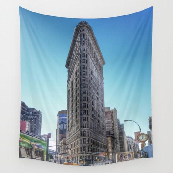 New York Wall Tapestry, Flatiron Building, Urban Photography, Iconic Landmark, Modern, Office Decor, Privacy Screen, City Life, Dorm, NYC