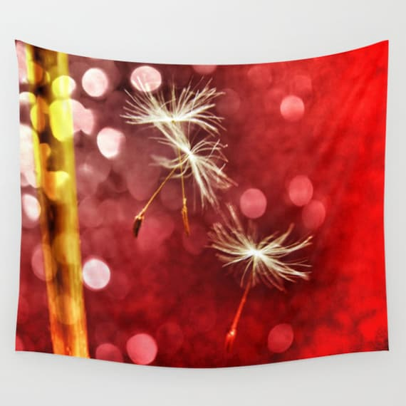 Dandelion Tapestry, Red, Office, Nature Large Wall Decor, Make a Wish Tapestry, Modern Decor, Bokeh Wall Hanging, Whimsical, Dreamy, dorm
