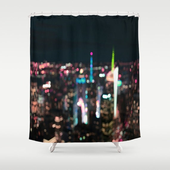 New York Manhattan Time Square Shower Curtain, Landscape, Urban, Bathroom, Modern, Home Decor, Photography, City, Bokeh, Night Sky, Dorm