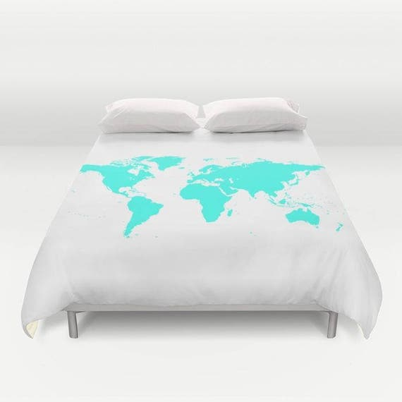 World Map Duvet Cover, Decorative bedding, World Map Bedding, bedroom blanket, White blue Bedding, Modern, aqua blue, dorm, geography, trend