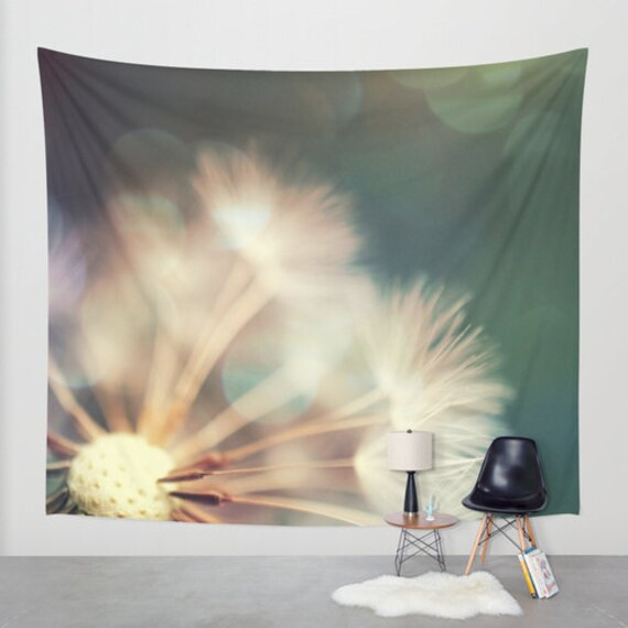 Dandelion Tapestry, Whimsical Tapestry, Nature Large Wall Decor, Make a Wish, Dorm, Office, Modern Decor, Bokeh Wall Hanging, Dreamy, Green