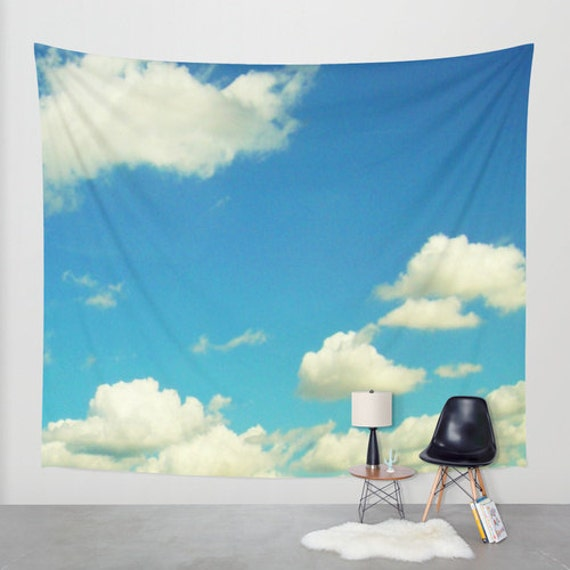 Cloudy Sky Wall Tapestry, Aqua Blue Large Size Wall Art, Modern Decor, Nature, Wedding Gift, Outdoor, Garden, Whimsical, Office, Dorm Art