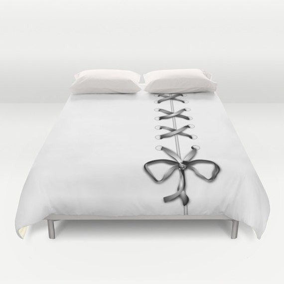 Laced Duvet Cover, Ribbon Print Duvet Cover, Made to Order, Gray White Bedding, Decorative Bedding, Unique Design, Dorm, Home Decor