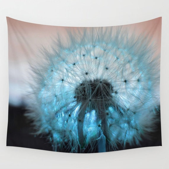 Dandelion Wall Tapestry, Teal Wall Art, Ocean Blue, Dorm, Office, Aqua Blue Fine Art Photography, Nature, Sunset, Outdoor, Garden,Whimsical