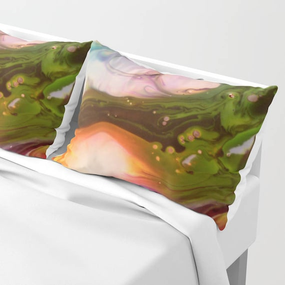 Happy Dream Pillow Shams Set of 2, Pillow Cover, Dorm, Vibrant, Urban bedroom, Wedding Gift, Abstract Art Painting bedding, Surreal, Modern