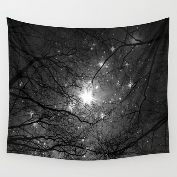 Trees Wall Tapestry, Stars Tapestry, Night Sky Home Decor, Nature Tapestry, Dorm , Office, Home Decor,Whimsical Tree Branches,Woodland,Woods