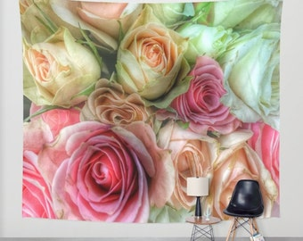 ROSES Pink and Cream Wall Tapestry, Flower Wall Art, Large, Office, Fine Art Photography, Nature, Floral Decor, Feminine, Dorm, Rosebuds