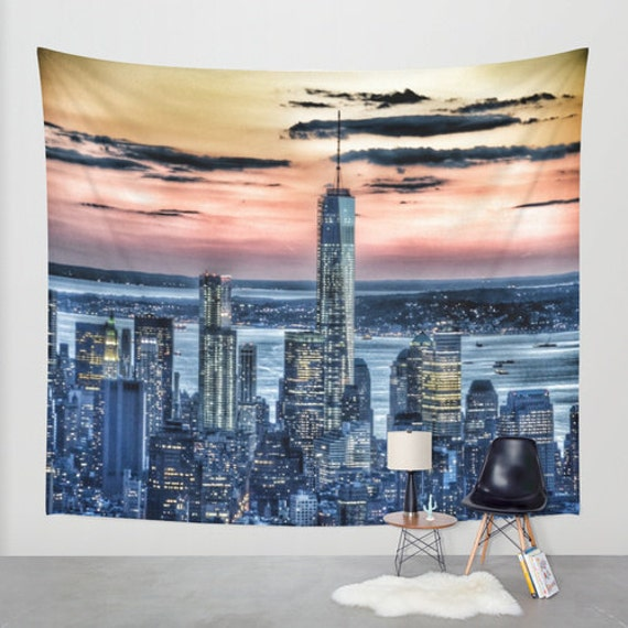 New York - Manhattan Landscape - Wall Tapestry, Photography, urban, sunset, wall art, modern, dreamy, office, garden, privacy screen, dorm