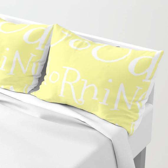 Good Morning Sunshine Shams Set of 2, Yellow Pillow, Happy, text Home Decor, Cute Pillow, Typography, Teen bedding, Dorm,Hotel, lemon yellow