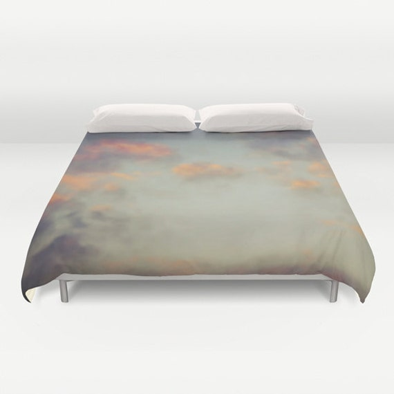 Cloudy Sky Duvet Cover, Cloud Decorative bedding, Sunset Sky, beach, bedroom, dorm, wedding gift, dreamy, whimsical, Orange Light blue